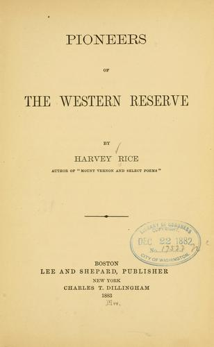 Download Pioneers of the Western Reserve