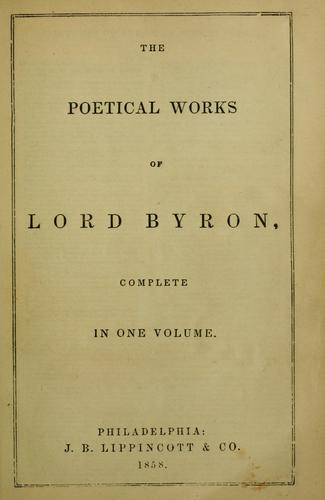 The poetical works of Lord Byron by Lord Byron