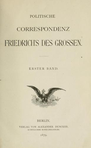 Download Politische correspondenz Friedrich's des Grossen.