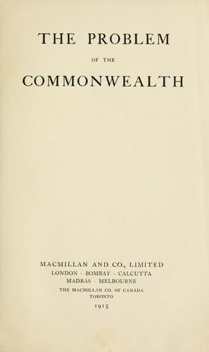 Download The problem of the Commonwealth.