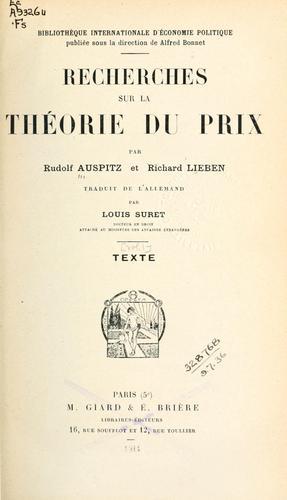 Download Recherches sur la théorie du prix