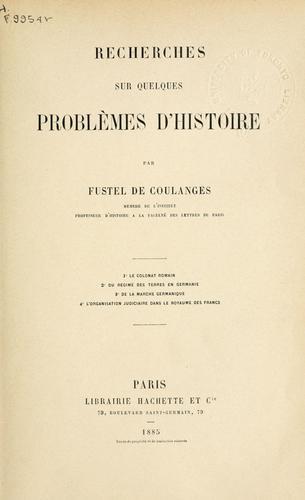 Download Recherches sur quelques problèmes d'histoire.
