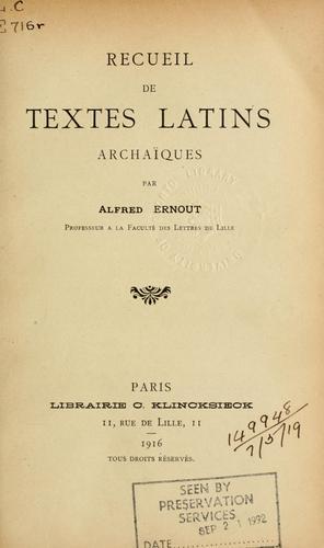 Download Recueil de textes latins archaïques.