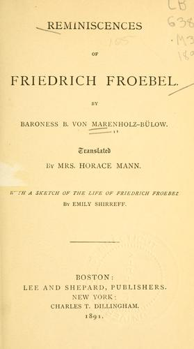 Download Reminiscences of Friedrich Froebel