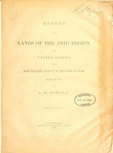 Download Report on the lands of the arid region of the United States