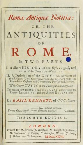 Download Romæ antiquæ notitia