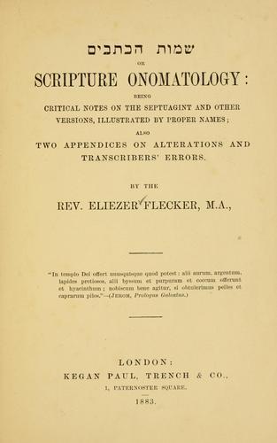 Scripture onomatology