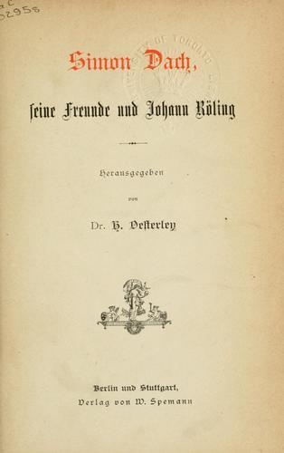 Download Simon Dach, seine Freunde und Johann Röling.