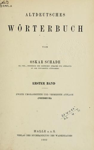 Altdeutsches Wörterbuch.