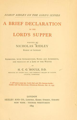 Download A brief declaration of the Lord's Supper