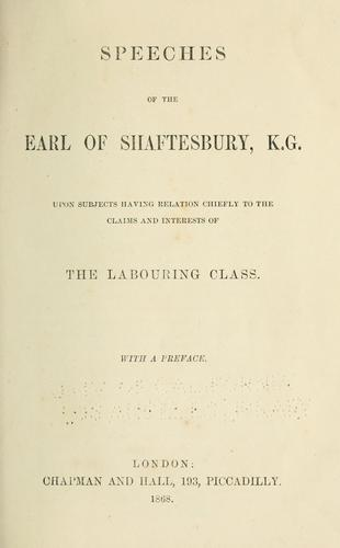Download Speeches of the Earl of Shaftesbury … upon subjects relating to the claims and interests of the labouring class.