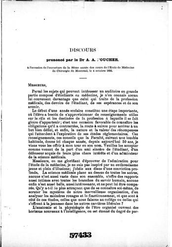Discours prononcé par le Dr. A.A. Foucher