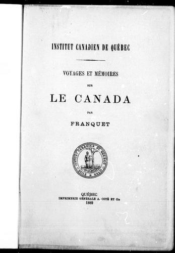 Voyages et mémoires sur le Canada