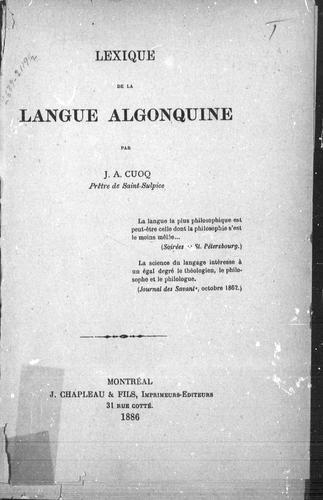 Lexique de la langue algonquine
