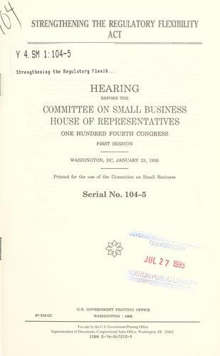 Strengthening the Regulatory Flexibility Act