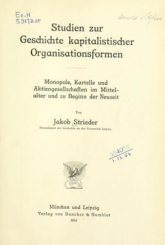 Download Studien zur Geschichte kapitalistischer Organisationsformen