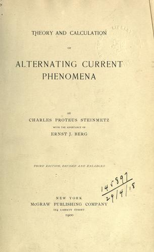 Download Theory and calculation of alternating current phenomena.