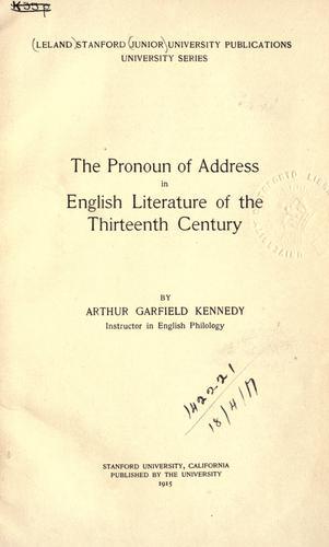 The pronoun of address in English literature of the thirteenth century.