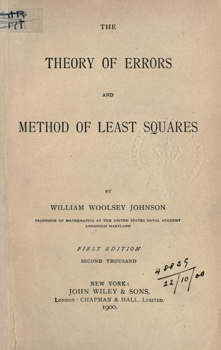 Download The theory of errors and method of least squares.