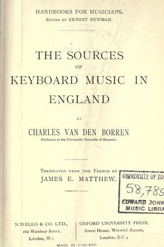 The sources of keyboard music in England.