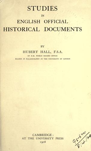 Download Studies in English official historical documents.