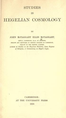 Download Studies in Hegelian cosmology.
