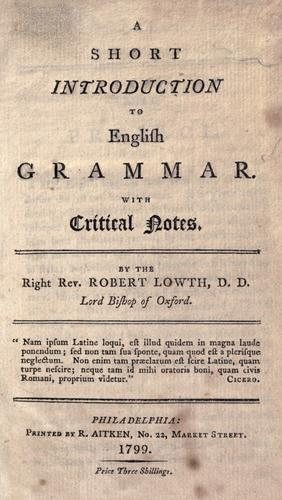 A short introduction to English grammar.