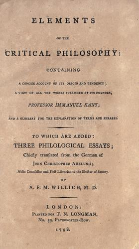 Download Elements of the critical philosophy