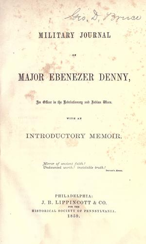 Download Military journal of Major Ebenezer Denny