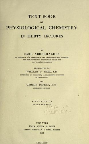 Download Text-book of physiological chemistry in thirty lectures