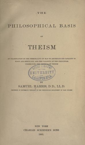 Download The philosophical basis of theism