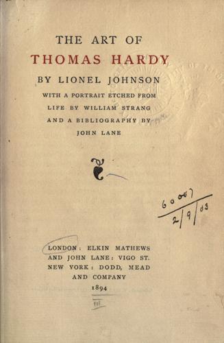The art of Thomas Hardy