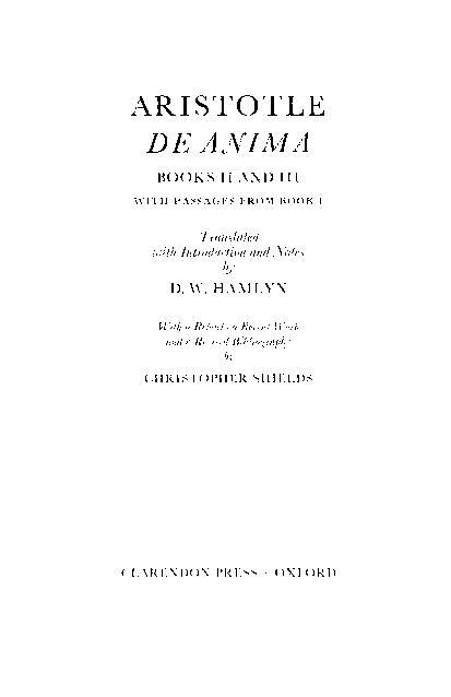 De Anima by Aristotle, Christopher Shields
