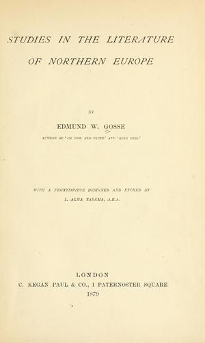 Studies in the literature of Northern Europe