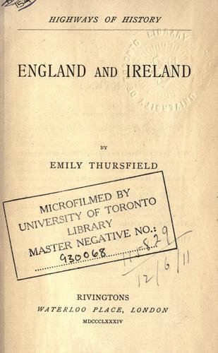 England and Ireland by Emily Thursfield
