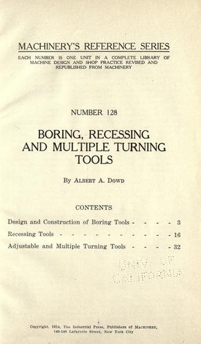 Boring, recessing and multiple turning tools by Albert Atkins Dowd