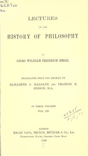 Lectures on the history of philosophy.